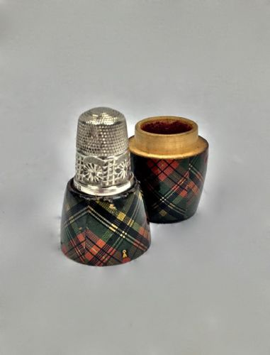 Antique Macbeth Tartan Mauchline Ware Box With Sterling Silver Thimble Edwardian